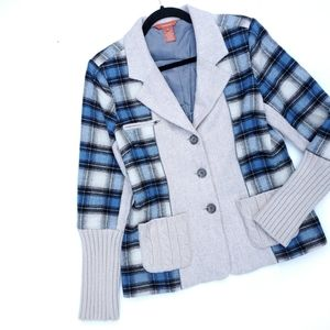 Sundance Blue Plaid Gray Blazer Jacket
